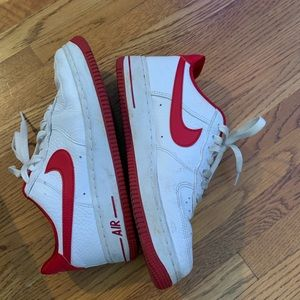 Red and White Women's Nike Air Force 1